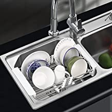HOMFA Dish Drying Rack Over the Sink Stainless Steel Expandable Colander Strainer Multipurpose Basket for Kitchen Fruits and Vegetables