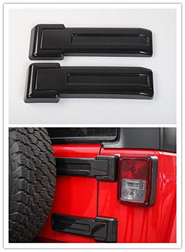 Highitem ABS Carbon Fiber Car Exterior Decoration Rear Spare Tire Tailgate Hinge Cover Trim Fit for Jeep Wrangler JK 2011-2017 (Carbon Fiber)