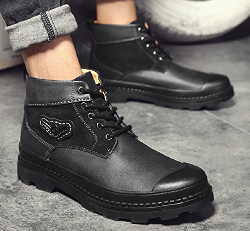 JiYe Mens Casual Ankle Boots Leather Walking Winter Shoes Brown JJDj7V