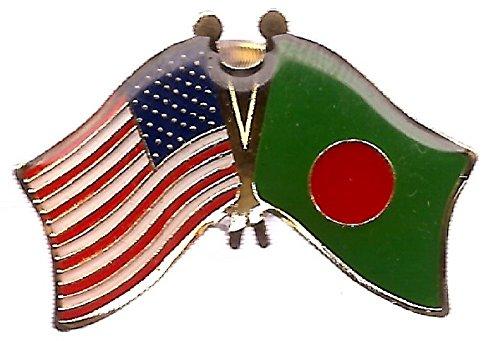AES USA American & Bangladesh Country Flag Bike Hat Cap lapel Pin