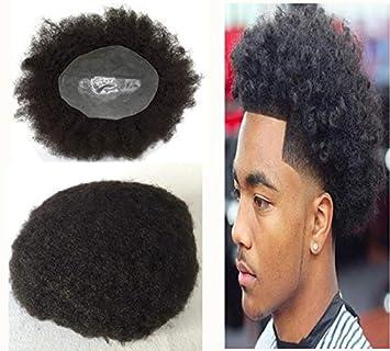 Amazon Com Full Pu Afro Curly Men Toupee Thin Skin Curly