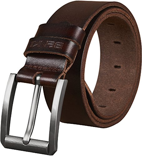Belts for Men - Full Grain Men's Genuine Leather Belt -Trimmed to Fit(36-38, BROWN)