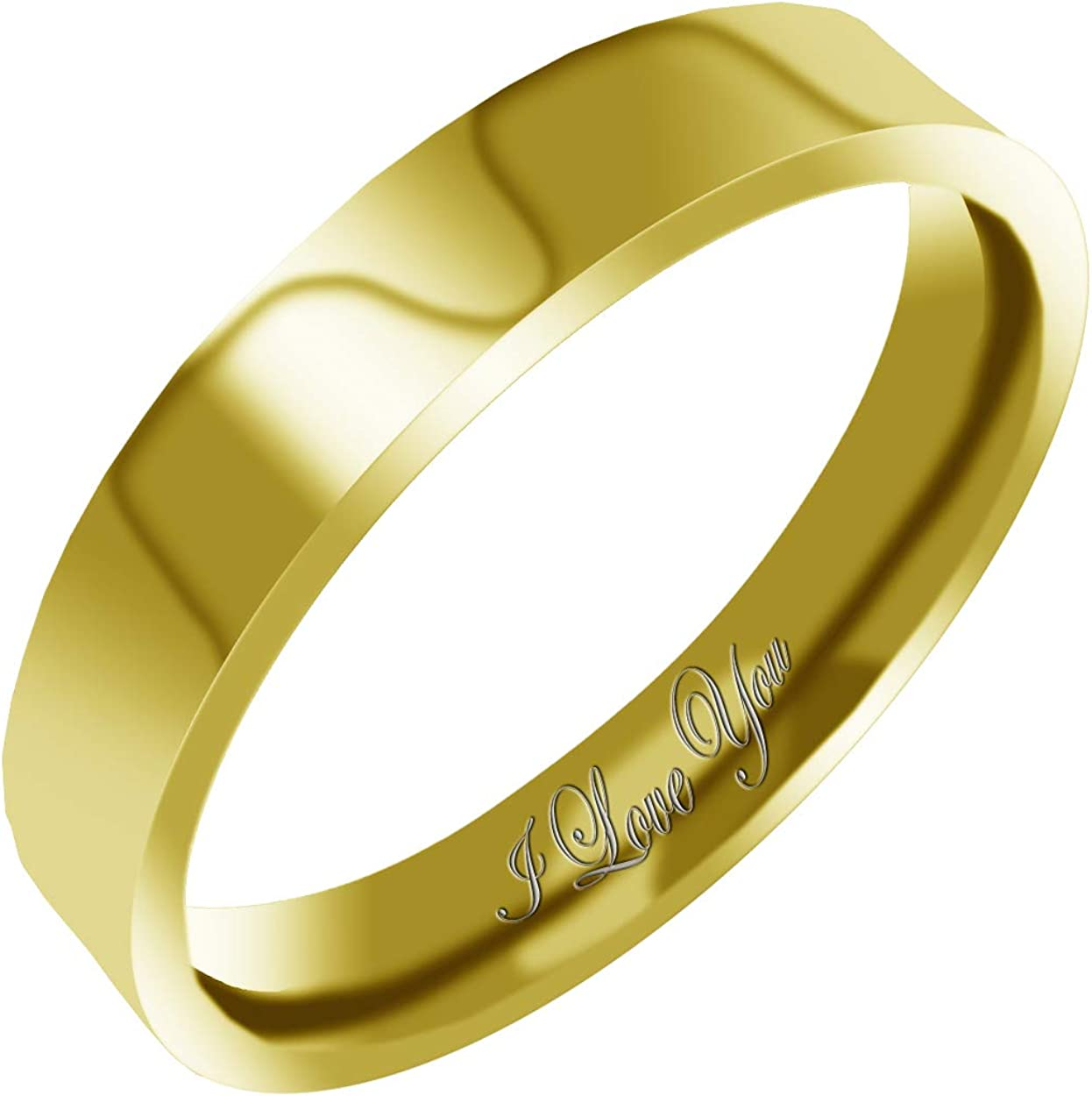 Everstone Women's Shiny Polish 4MM & 6MM Flat Promise Ring Wedding Bands Titanium Ring Color: Yellow Gold Engraved I Love You