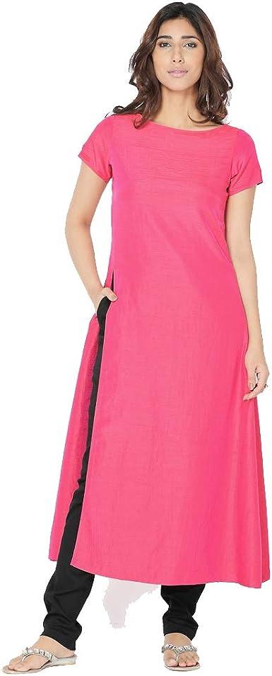 RADANYA Vestido túnica Kurta Kurti de Manga Corta en Camisa de Manga Corta para Mujer India Rosa 48: Amazon.es: Ropa y accesorios