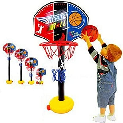 Portable Basketball Hoop and Stand Toy for Kids Junior,Adjustable Mini Basketball Set Indoor and Outdoor Summer Garden Beach Fun Ball Toy Activities for Toddlers Baby Sports: Kitchen & Dining