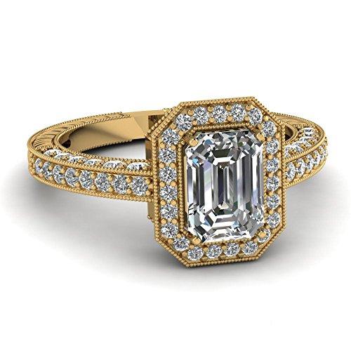 3.00ct White Emerald Shape Simulated Diamond 10k YG Fine Wedding-Engagement Ring ()