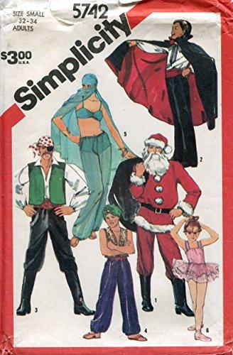 Simplicity Pattern 5742 ~ Adult Costumes (Pirate, Vampire, Santa, Ballerina, Arabian Prince, Harem Girl) ~ Small (32-34) ()