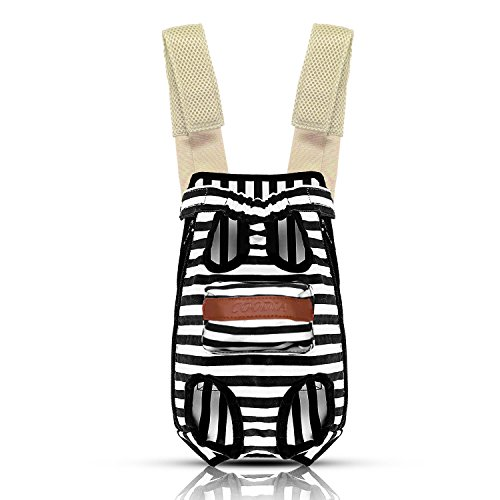 COODIA Legs Out Front Pet Dog Carrier Front Chest Backpack Pet Cat Puppy Tote Holder Bag Sling Outdoor (M, Color Black) by COODIA