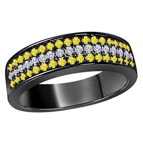 6MM 14K Black Gold Finish Alloy 0.50CT Yellow Sapphire & White Cz Diamond Ring 3 Row Pave Half Eternity Men's Wedding Band Ring Size All Available by DreamJewels