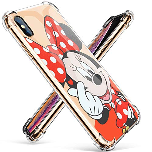 """- Logee TPU Minnie Mouse Cute Cartoon Clear Case for iPhone X/iPhone Xs 5.8"""",Fun Kawaii Animal Soft Protective Shockproof Cover,Ultra-Thin Funny Character Cases for Kids Teens Girls Boys (iPhoneXs)"""