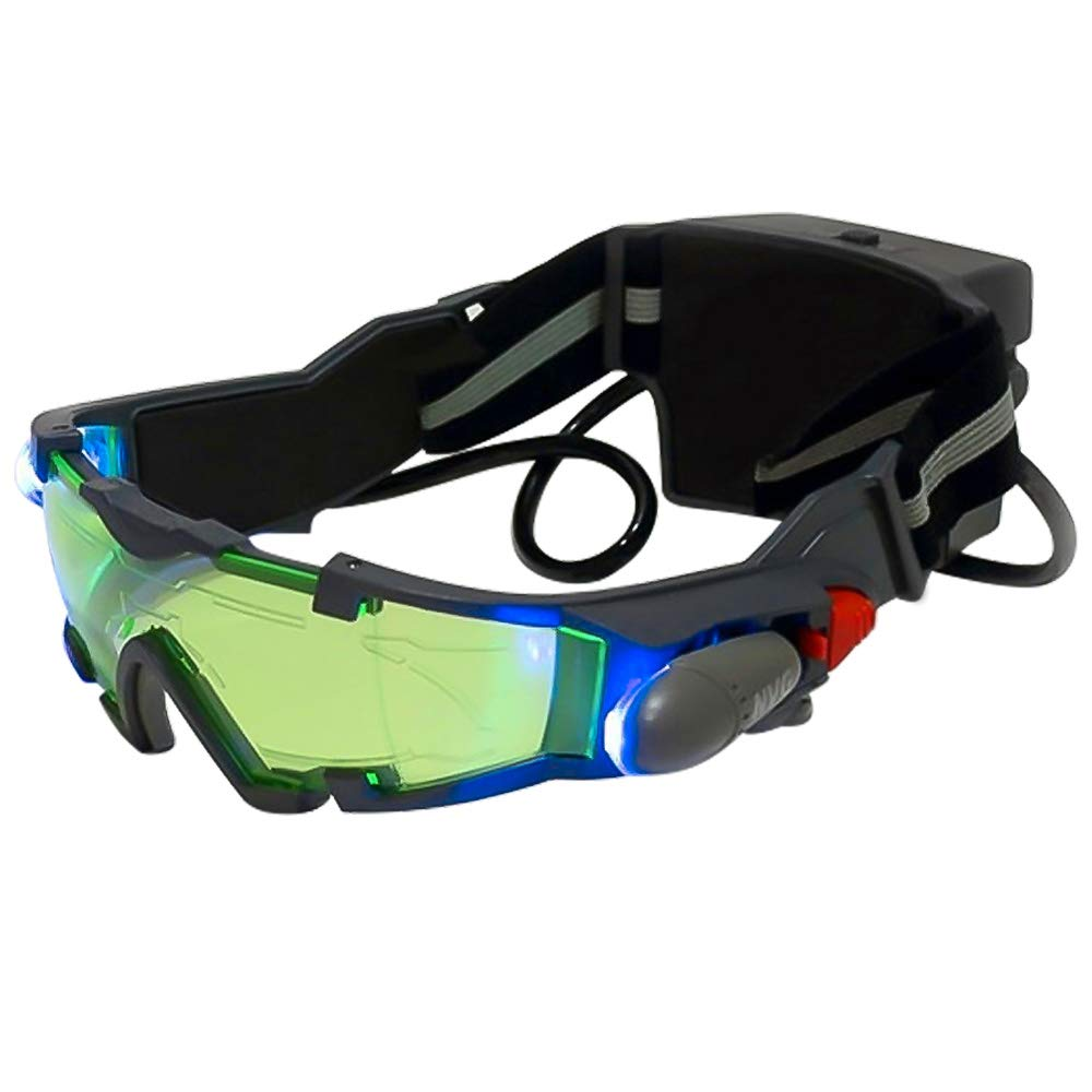 ALLOMN Spy Night Vision Goggles with Flip-Out, Adjustable Kids LED Night Green Lens Glasses for Hunting Racing Bicycling, Skying to Protect Eyes