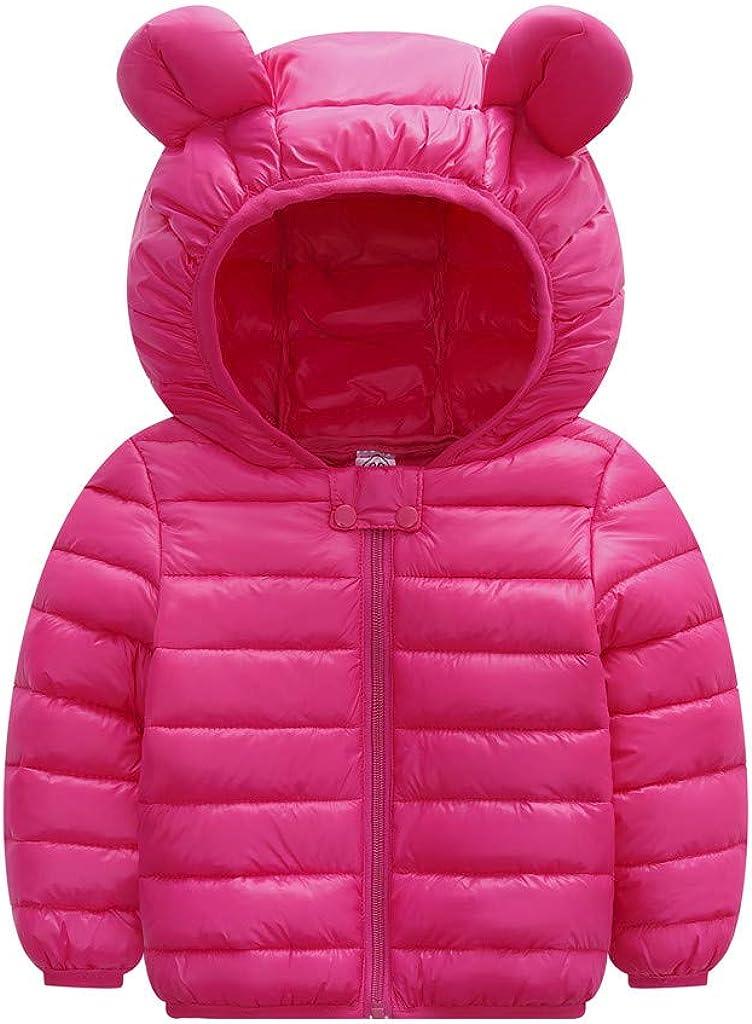 Kids Baby Boys Girls Hooded Snowsuit Warm Winter Coat Cute Ears Hooded Light Down Zipper Windproof Snow Jacket Outerwear
