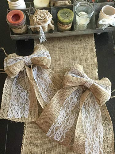 (Set of Two Burlap and Lace Pew Bows 8