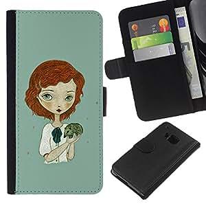 HTC One M9 Modelo colorido cuero carpeta tirón caso cubierta piel Holster Funda protección - Ginger Girl Green Hedgehog Art