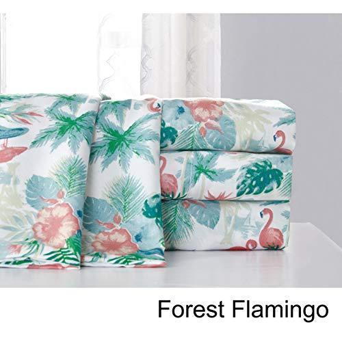 Hedaya Home Fashions Forest Flamingo Tropical Watercolor Sheet and Pillowcase Set Queen - Hedaya Home Fashions