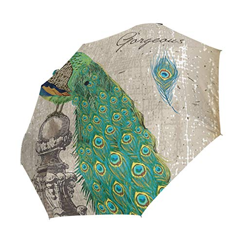 - XiangHeFu Umbrella Vintage Peacock Auto Open Close 3 Folds Lightweight Anti-UV