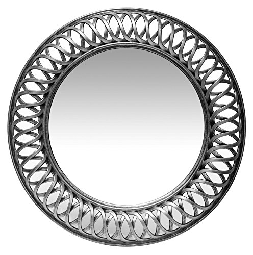 (Lattice Silver Wall Mirror Unique Decorative Large Round Circular Hanging 23 inch Infinity Instruments)