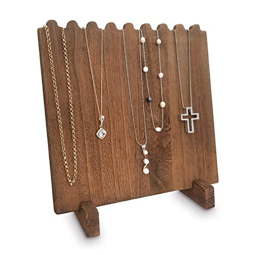 Mooca Wooden Plank Necklace Jewelry Display Stand for 8 Necklaces, Brown Color (Jewelry Wooden Stand)
