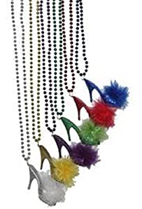 "Mardi Gras, Assorted Metallic Beads w/ High Heel Fur Shoe, 7 mm, 33"", 10 Dozen (120pcs)."