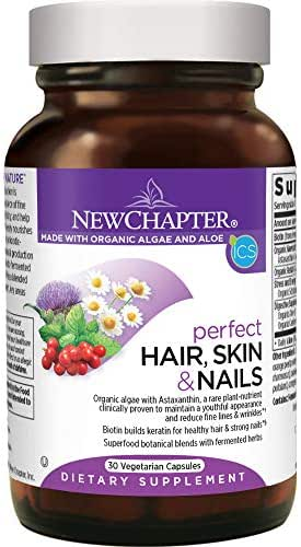 New Chapter Hair Skin & Nails Vitamins with Fermented Biotin + astaxanthin - 30 Ct Vegetarian Capsule (Packaging May Vary)