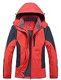 Cloudy Walker Women's Waterproof Mountain Jacket Fleece Windproof Ski Jacket(Red,S)