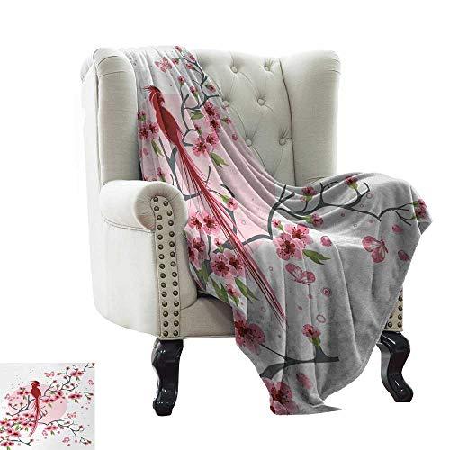 - Davishouse Reversible Blanket Mythical Legendary Long Lived Phoenix Bird on Floral Sakura Branch Looking Back Artwork Sofa Chair 30