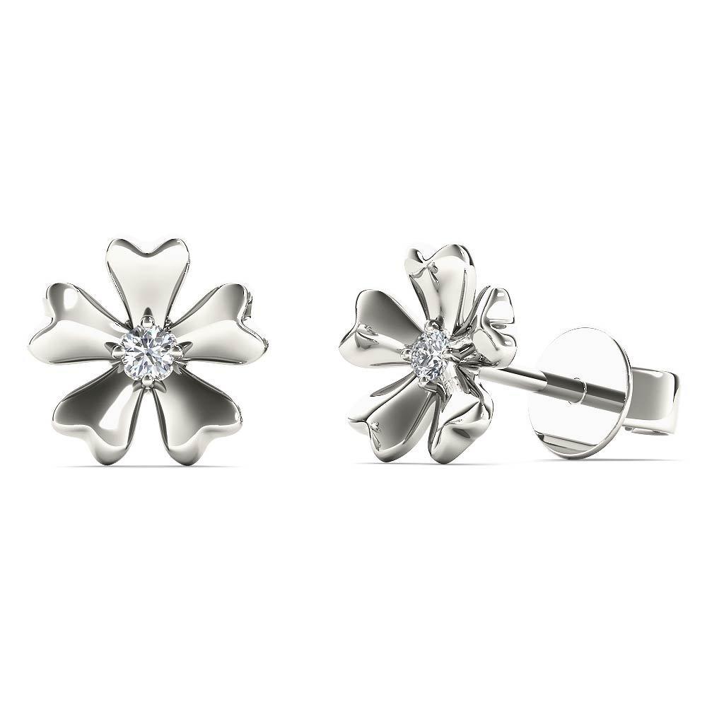 JewelAngel Kids Big Girl's Diamond Accent Flower Stud Earrings (H-I, I1-I2) 10K White Gold
