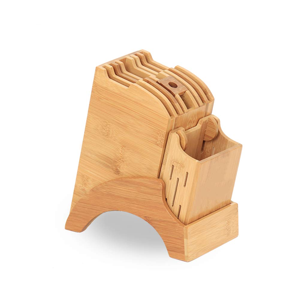 Unicoco Bamboo Knife Block with Chopstick Holder Multiple Slot Knife Holder Stand Kitchen Supplies Knife Storage Rack