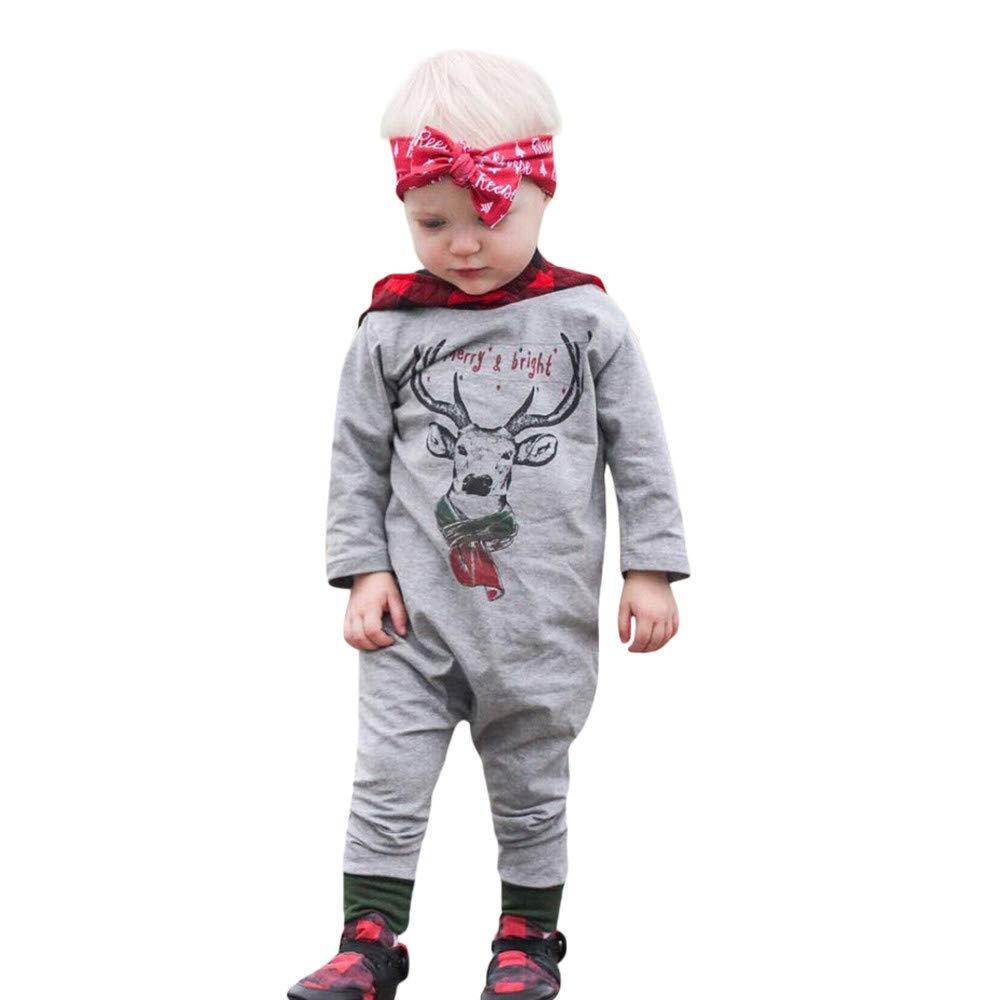 d0b94e5a913 Amazon.com  Tronet Christmas Baby Boys Girls Deer Plaid Hooded Romper  Jumpsuit Newborn Infant Fashion Clothes  Clothing