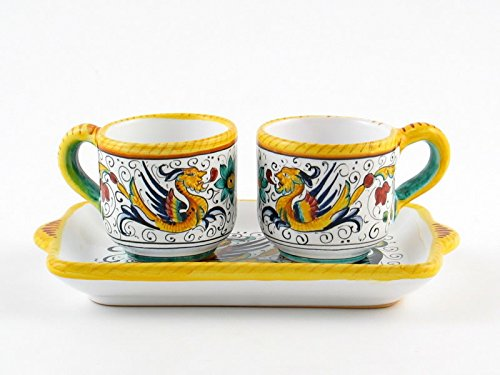 Hand Painted Italian Ceramic Espresso Set Raffaellesco - Handmade in Deruta by Fima