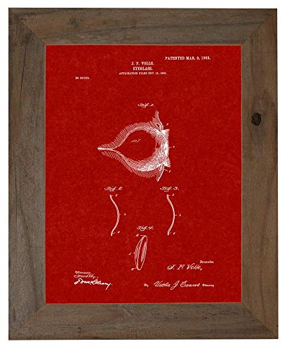 Contact Lense Patent Art Burgundy Red Print in a Barnwood Frame (11