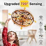 WEW Flying Ball Drone, Upgrade Hand Controlled Drone for Kids720°Omnidirectional Interactive Infrared Induction Helicopter 360°Rotating Ball with Shinning LED Lights Flying Toys for Boys Girls - Gold
