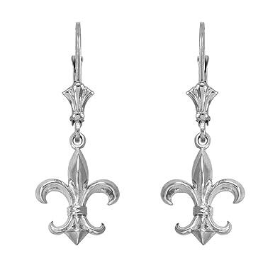 c9201a861 Image Unavailable. Image not available for. Color: Fleur-de-Lis Dangle  Earrings 925 Sterling Silver