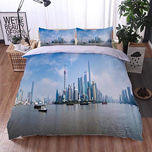 (Home Duvet Cover Set,Panorama of Pudong District Shanghai China,Soft,Breathable,Hypoallergenic,Bedding Set for Kids,Boys and Teens)