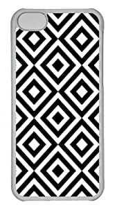 Hot iPhone 5C Customized Unique Print Design Diamond Pattern Black And White New Fashion PC Transparent iPhone 5C Cases