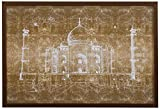 White on Bronze Print of Taj Mahal, Bronze Frame, 26'' x 18''