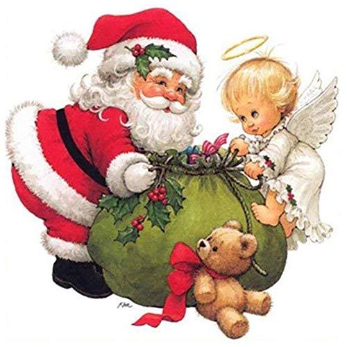 サンタクロースと天使 5Dダイヤモンド絵画 DIY手作り絵画 装飾画 クロスステッチ 刺繍キット 風景のダイヤモンドの絵の刺繍DIY 30×30CM