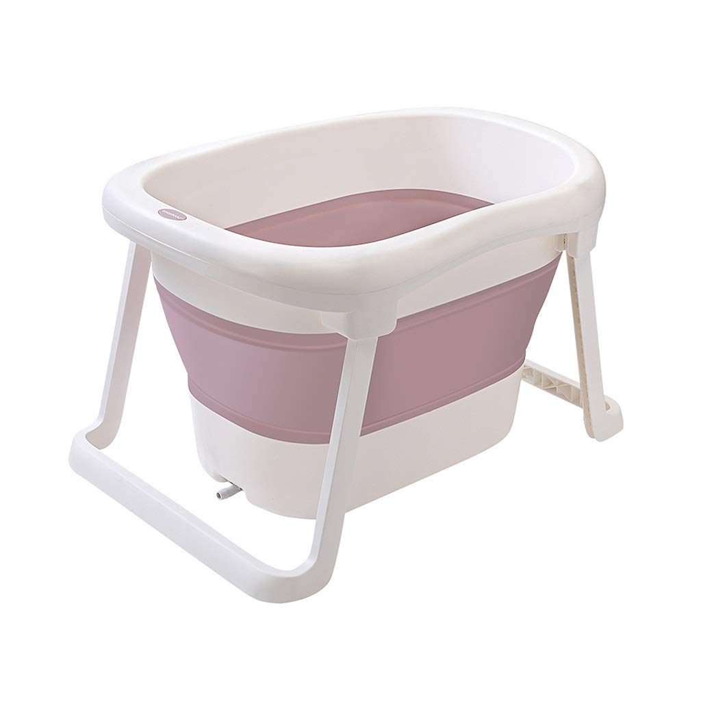 Portable Foldable Bathtubs For Kids, Folding Baby Swimming Pool Toddler Soaking Bathtub, Small Bathtubs For Small Bathrooms (Color : Pink)