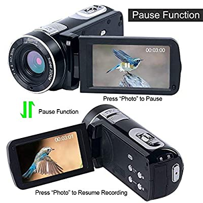 Video Camera Camcorder HD 1080P Digital Camera 24.0MP 18X Digital Zoom 3.0 Inch LCD 270 Degrees Rotatable Screen for Selfie Pause Function (Two Batteries and 32GB SD Card)