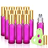 Olilia Glass Roller Bottles with Metal Rollerball, Essential Oils Opener Key Included 12 Pack of 10ml (1/3oz) (Violet - Gold Lids)