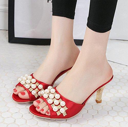 zapatillas de verano de mujeres perla de la moda fina con sandalias abiertas de tacón alto y zapatillas sandalias del ms cabeza de pescado Red