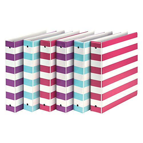 Colored Ring Binders 3 (Samsill MP20121 Fashion Design 3 Ring Binder, Stripes, 1.5 Inch Round Rings, Assorted Colors (Purple, Pink, Turquoise), Bulk Binders - 6 Pack)