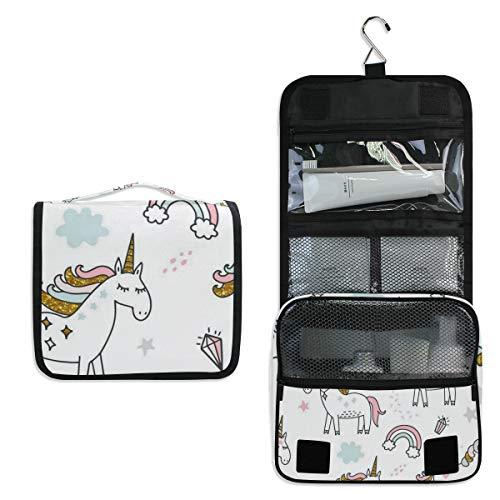 Rainbow Unicorn Diamonds Large Capacity Hanging Toiletry Bag for Men & Women, Portable Waterproof Bathroom Shower Bag, Lightweight Dopp kit Shaving Bag, Sturdy Metal Hook Organizer Makeup Bag ()