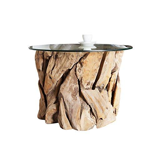 Design Couchtisch NATURE LOUNGE Teakholz mit runder Glasplatte Beistelltisch