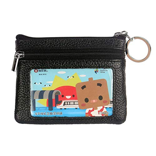 DukeTea Small Leather Zipper Change Purse Coin Wallet with Keychain -