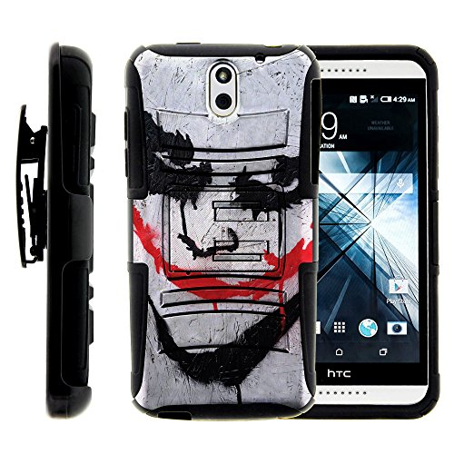 HTC Desire 610 , Hybrid Dual Layer Belt Clip Holster Kickstand Hard Shell Case Heroes and Superhero Artwork Collection by Miniturtle ® - Joker - Htc Desire 610 Super Hero Case