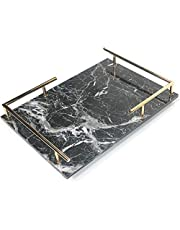PuTwo Decorative Tray Marbling Tray Jewelry Tray with Gold Metal Handle Copper Trinket Tray Handmade Catchall Tray for Dresser Bathroom Vanity Table Gift for Birthday Christmas