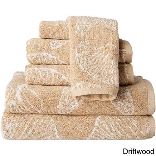 MP 6 Piece Beige Beach Themed Towel Set, Driftwood Jacquard Sea Shell Pattern Starfish Nautical Ocean Coastal Soft Light Beaches Bath Towels Shower Bathtub, Cotton