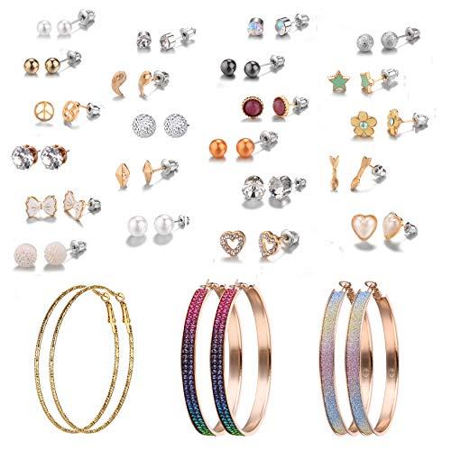 25 Pairs hypoallergenic Hoop earrings Assorted Multiple Stud Earrings set Heart flower Pearls Bow Rainbow Hoop for Women Girls (Color-7) ()