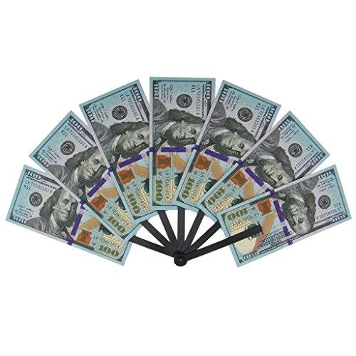 Fenteer Big Bucks One Hundred Dollar Bill Printed Folding Hand Fan Paper Fan Kids Play Gag Gift (Gag Fan)